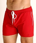 LASC Zippered Pockets Stretch Woven Gym Shorts Red, view 3