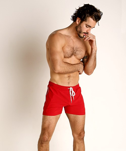 LASC Zippered Pockets Stretch Woven Gym Shorts Red