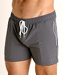 LASC Zippered Pockets Stretch Woven Gym Shorts Charcoal, view 3
