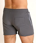 LASC Zippered Pockets Stretch Woven Gym Shorts Charcoal, view 4