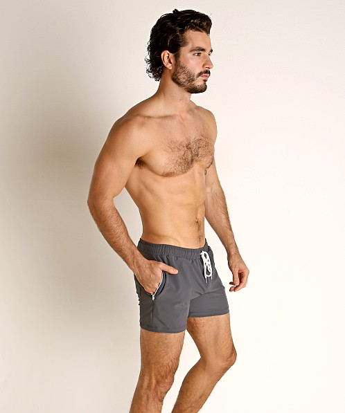LASC Zippered Pockets Stretch Woven Gym Shorts Charcoal