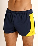 LASC Pique Mesh Lined Running Shorts Navy/Gold, view 3