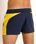 LASC Pique Mesh Lined Running Shorts Navy/Gold, view 4