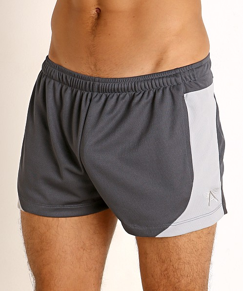 LASC Pique Mesh Lined Running Shorts Charcoal/Silver