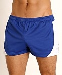 LASC Pique Mesh Lined Running Shorts Royal/White, view 3