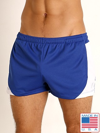 Model in royal/white LASC Pique Mesh Lined Running Shorts