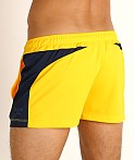 LASC Pique Mesh Lined Running Shorts Gold/Navy, view 4