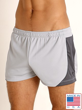 Model in silver/charcoal LASC Pique Mesh Lined Running Shorts