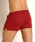 LASC Slub Jersey Workout Shorts Burgundy, view 4