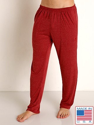 Model in burgundy LASC Slub Jersey Workout Pant