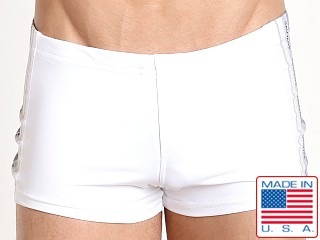 Sauvage Classic Stripe Swim Trunk White