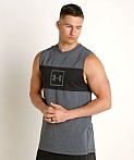 Under Armour Sportstyle Cotton Mesh Tank Top Black/Mod Gray, view 3