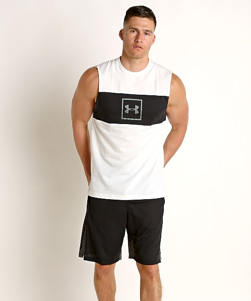 Under Armour Sportstyle Cotton Mesh Tank Top Onyx White/Mod Gray