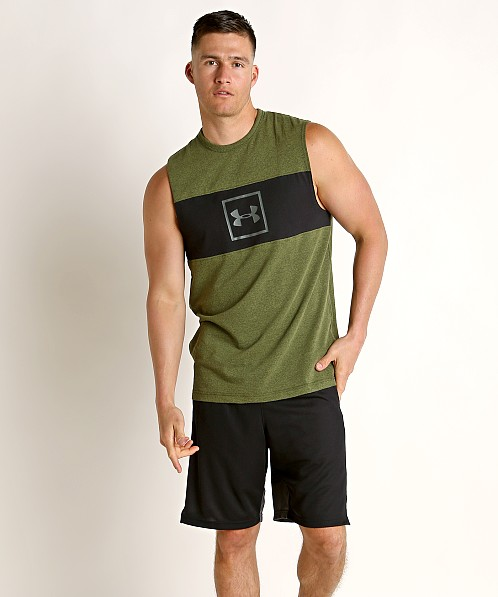 Under Armour Sportstyle Cotton Mesh Tank Top Trail Green