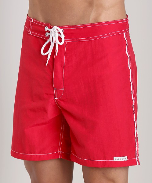 Sauvage Low Tide Nylon Swim Trunk Red