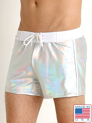 Sauvage Silver Shine Nylon Lycra Swim Trunk Shiny Silver