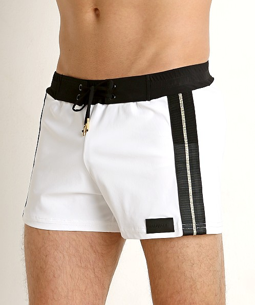 Sauvage Retro Lycra Metallic Stripe Swim Trunk White/Black/Gold