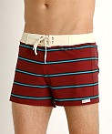 Sauvage Retro Vibe Striped Swim Trunk Crimson, view 3
