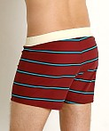 Sauvage Retro Vibe Striped Swim Trunk Crimson, view 4