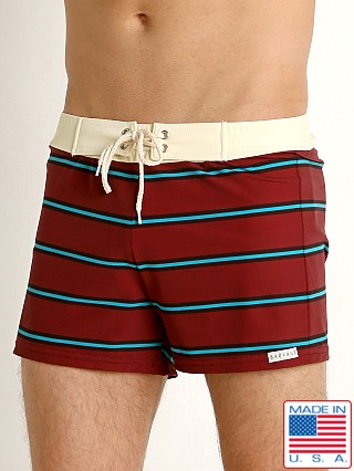 Sauvage Retro Vibe Striped Swim Trunk Crimson