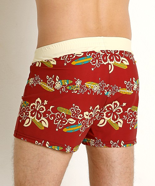 Sauvage Retro Vibe Aloha Swim Trunk Crimson