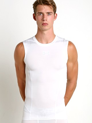 Model in white Under Armour Supervent 2.0 Mesh Tank Top