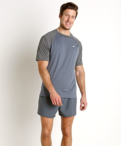 Speedo Heather Sun Block Swim Tee Navy/Silver