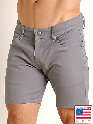 Model in grey LASC Cotton Twill 5-Pocket Shorts