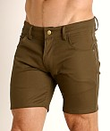 LASC Cotton Twill 5-Pocket Shorts Olive, view 3