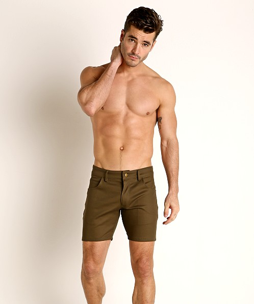 LASC Cotton Twill 5-Pocket Shorts Olive