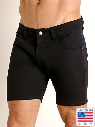 Model in navy LASC Cotton Twill 5-Pocket Shorts