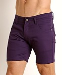 LASC Cotton Twill 5-Pocket Shorts Eggplant, view 3
