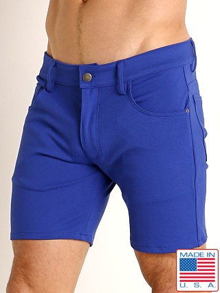 Model in cobalt LASC Stretch Jersey 5-Pocket Shorts