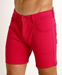 LASC Stretch Jersey 5-Pocket Shorts Fuchsia, view 3