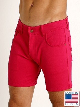 Model in fuchsia LASC Stretch Jersey 5-Pocket Shorts