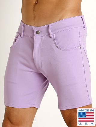 Model in lilac LASC Stretch Jersey 5-Pocket Shorts
