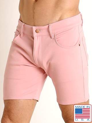 Model in dusty rose LASC Stretch Jersey 5-Pocket Shorts
