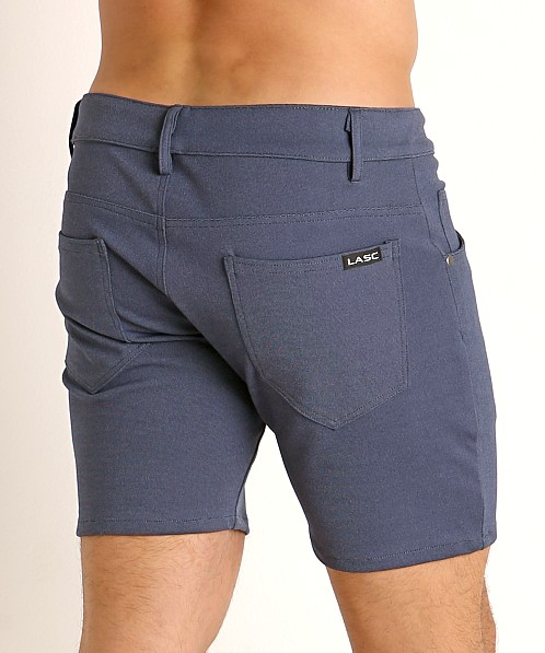 LASC Stretch Jersey 5-Pocket Shorts Heather Denim