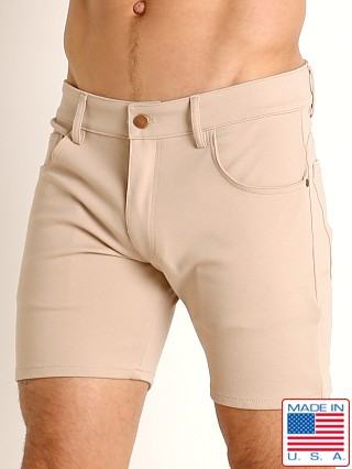 Model in tan LASC Stretch Jersey 5-Pocket Shorts
