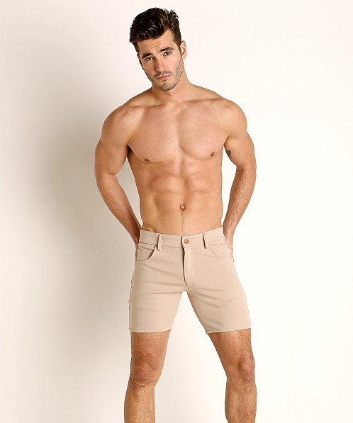 LASC Stretch Jersey 5-Pocket Shorts Tan