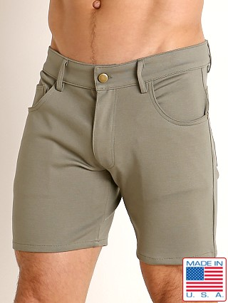 Model in army LASC Stretch Jersey 5-Pocket Shorts