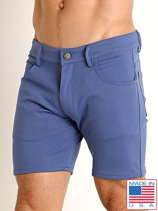 Model in denim LASC Stretch Jersey 5-Pocket Shorts