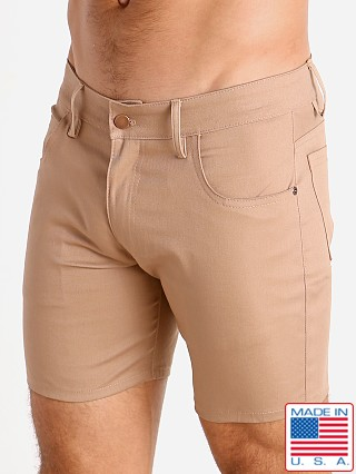 Model in dark khaki LASC Cotton Twill 5-Pocket Shorts