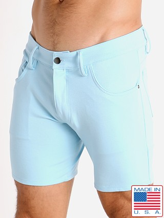 Model in baby blue LASC Stretch Jersey 5-Pocket Shorts