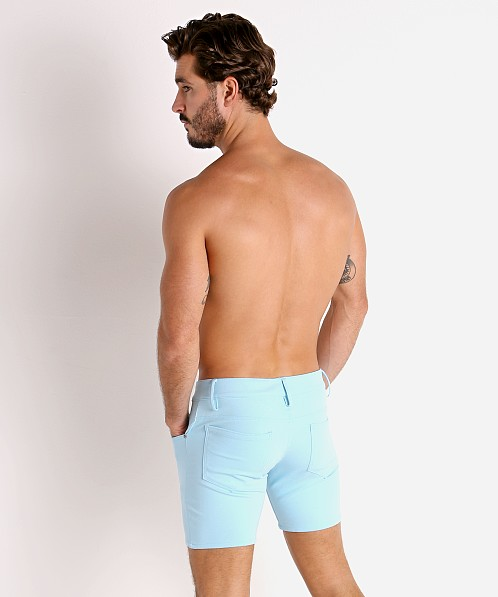 LASC Stretch Jersey 5-Pocket Shorts Baby Blue