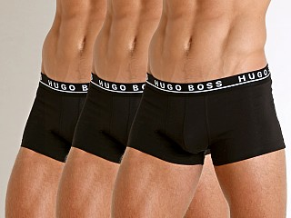 Model in black Hugo Boss Cotton Stretch Trunks 3-Pack