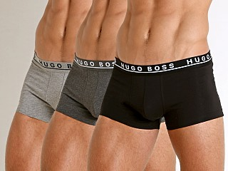 Model in grey/charcoal/black Hugo Boss Cotton Stretch Trunks 3-Pack
