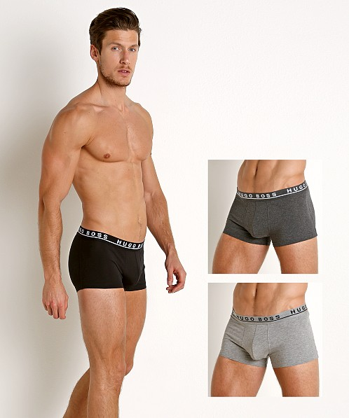 Hugo Boss Cotton Stretch Trunks 3-Pack Grey/Charcoal/Black