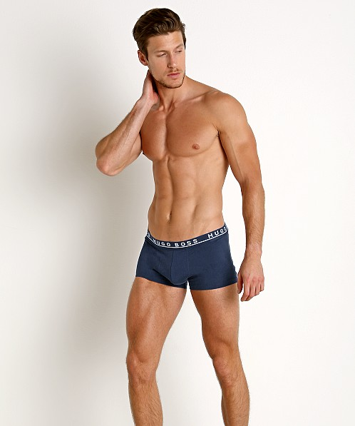 Hugo Boss Cotton Stretch Trunks 3-Pack Blue/Navy/Charcoal