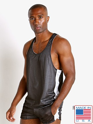 Model in black/white LASC Reversible Athletic Mesh Tank Top